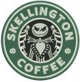Skellington coffee embroidery design