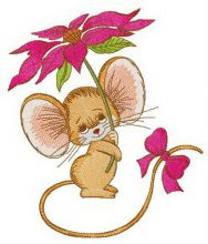 Mouse with bright pink flower