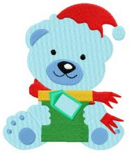 Blue bear with gift