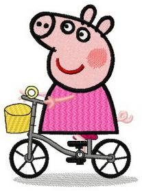 Peppa cyclist machine embroidery design