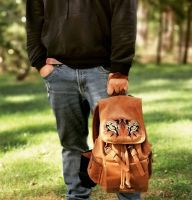 Mens embroidered backpack with predator eyes design