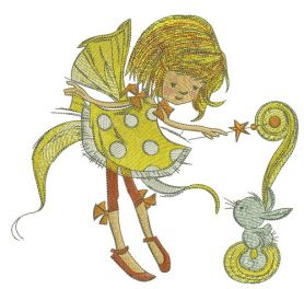 Fairy in polka dot dress with bunny machine embroidery design