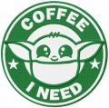 Yoda i need coffee embroidery design