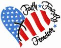 Faith, family, freedom embroidery design