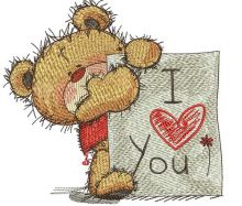 Teddy bear with I LOVE YOU board