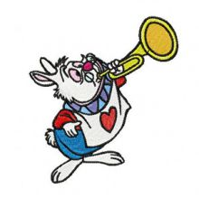 White Rabbit plays trumpet