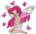 Young butterfly fairy embroidery design