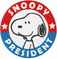 Snoopy president embroidery design
