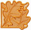 Lace corner leaves free machine embroidery design