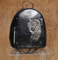 Leather backpack with wolf spirit embroidery design