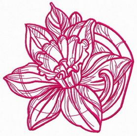 Pink daffodil one color machine embroidery design