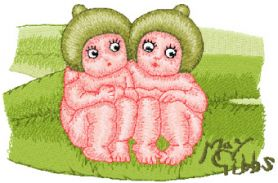 Snugglepot and Cuddlepie Together machine embroidery design