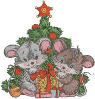 Christmas mice with gifts