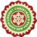 Christmas round label embroidery design