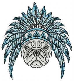 Bulldog ready for Indian party machine embroidery design