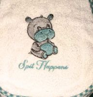 Newborrn napkin with cute hippo embroidery design