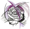 Geometric rose embroidery design