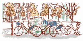 Bicycle trip machine embroidery design