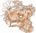 Rustic bear with honey pot 5 embroidery design