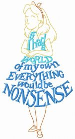 Alice phrase dress machine embroidery design