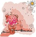 Shy teddy bear embroidery design