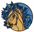 Horse and blue butterflies embroidery design