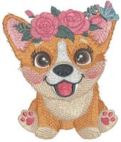 Corgi with flower wreath
