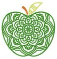 Green ripe apple embroidery design