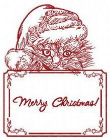Merry Christmas kitten machine embroidery design