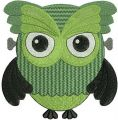 Owl in zombie costume embroidery design