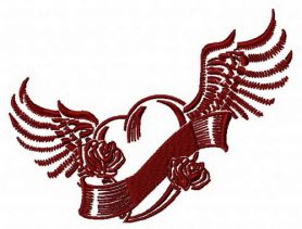 Winged heart 3 machine embroidery design