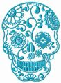Skull with floral pattern embroidery design