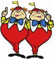 Tweedledee and Tweedledum embroidery design