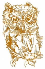 Wild owl one color machine embroidery design
