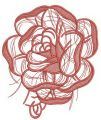 Pink rose sketch embroidery design