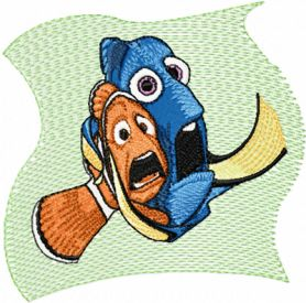 Nemo and Dory machine embroidery design