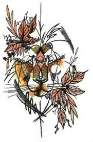 Autumn lion machine embroidery design