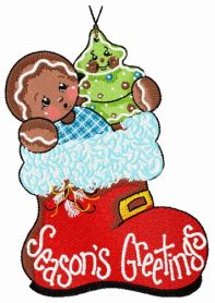 Gingerbread boy 4 machine embroidery design