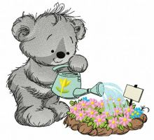 Teddy bear with watering can 6