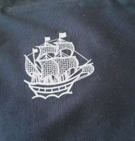 Shooping bag with sea ship free embroidery