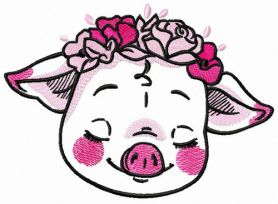 Shy piggy machine embroidery design