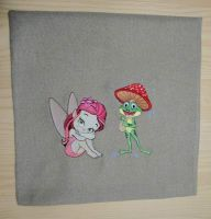 Frog and sweet fairy embroidered design