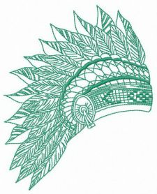 Feathered headdress machine embroidery design