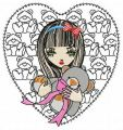 Girl with teddy bear 2 embroidery design