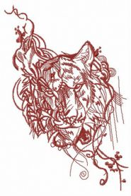 Stern look of tiger machine embroidery design