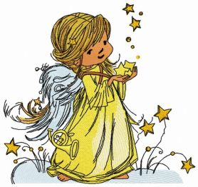 Star angel machine embroidery design