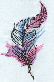 mixed colors feather machine embroidery design