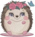 Hedgehog with a wreath of roses embroidery design