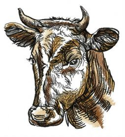 Farm cow machine embroidery design