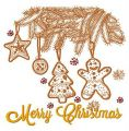 Merry Christmas postcard 6 embroidery design